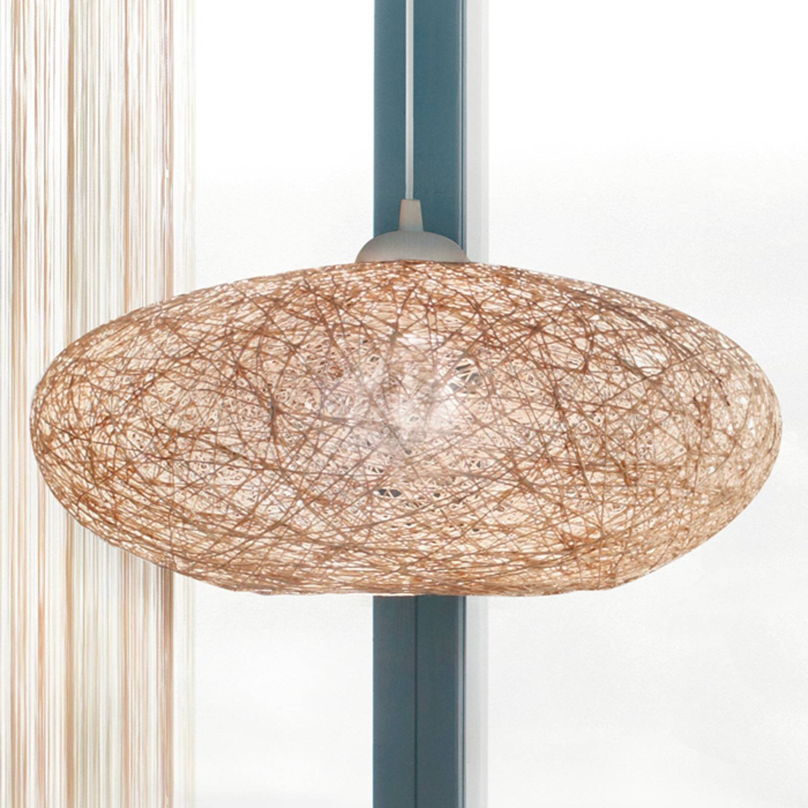 Textiele beige hanglamp Campilo