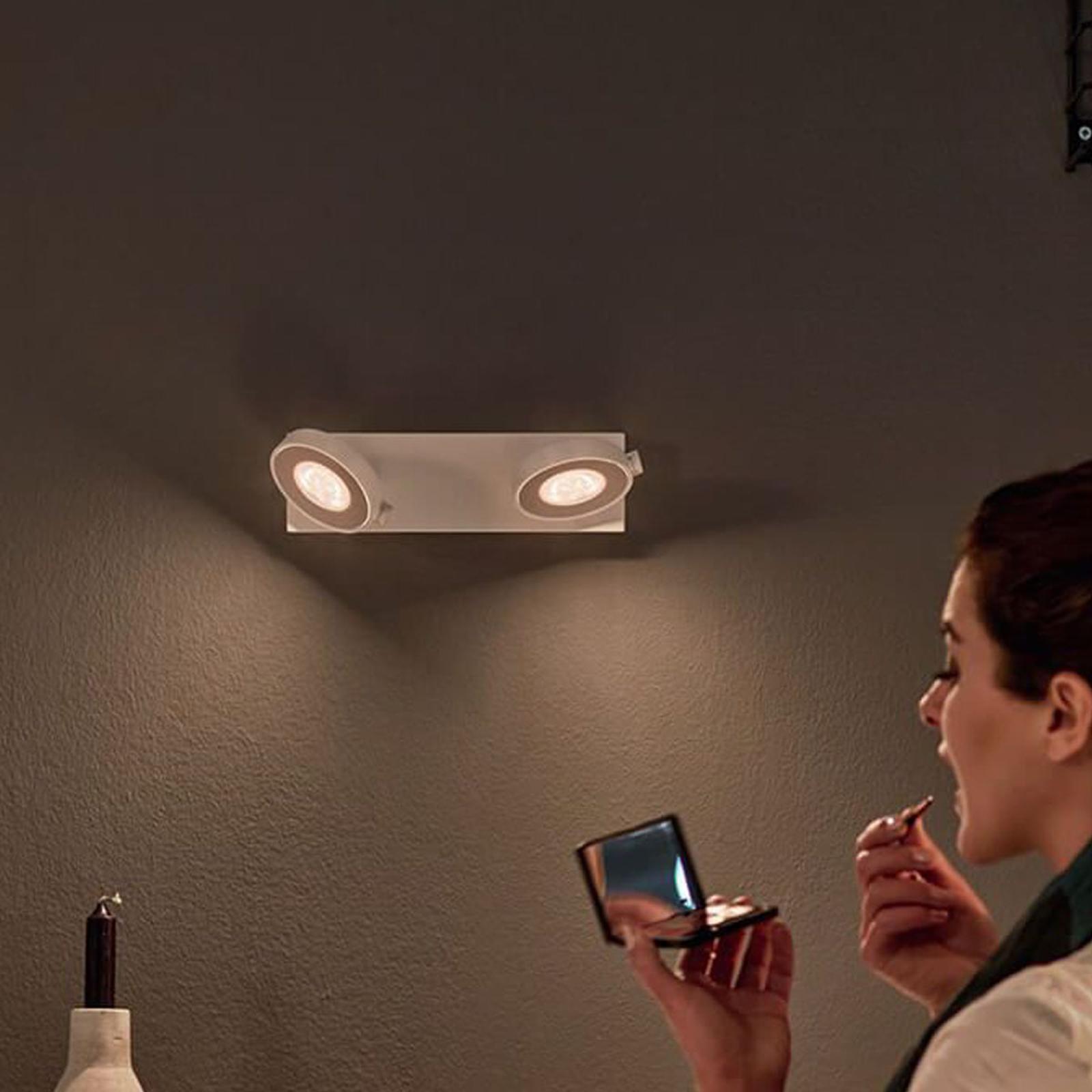 Philips Clockwork LED-spot, hvidt, 2 lk., WarmGlow