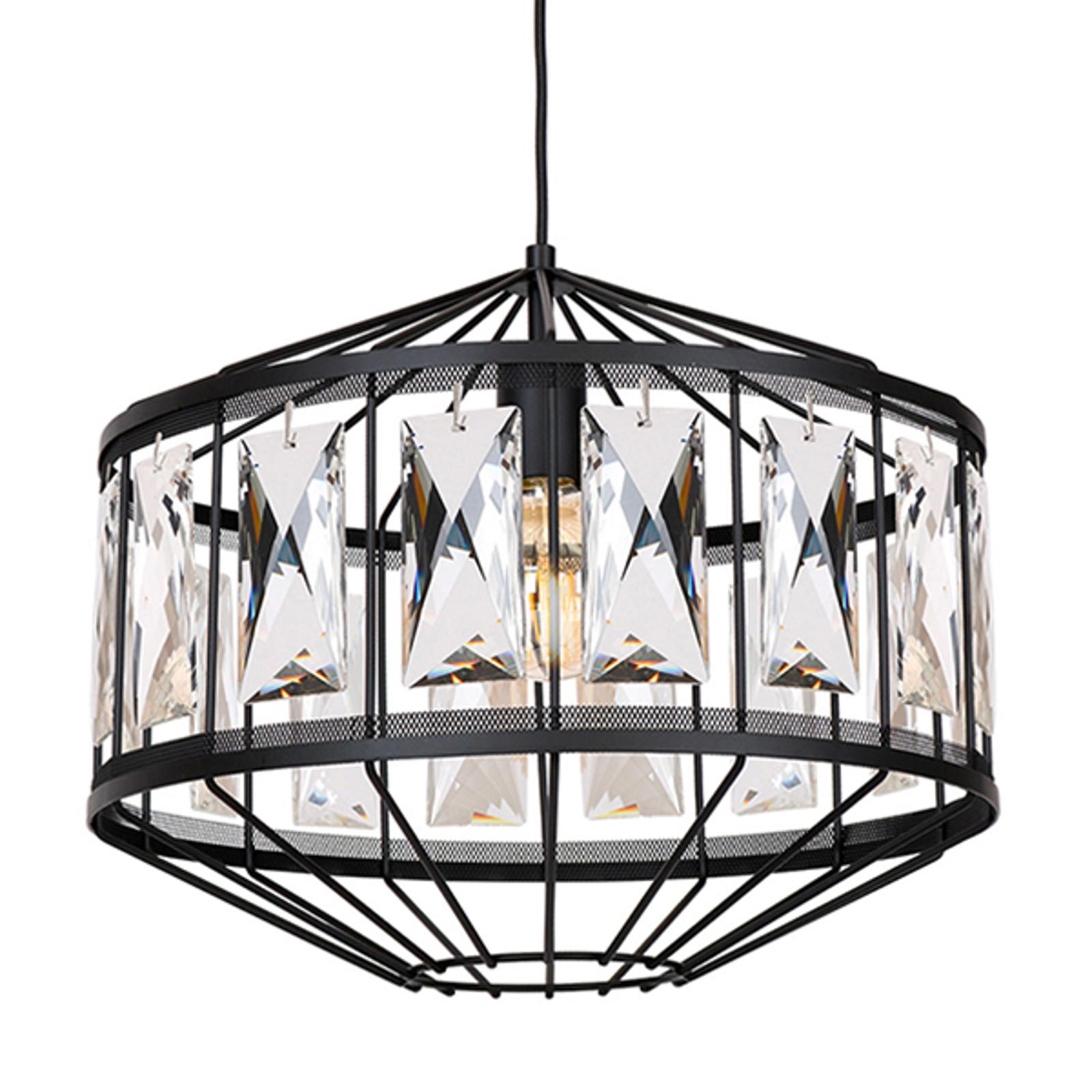 Hanglamp Elegance, zwart, geslepen glas