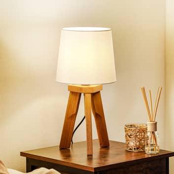 HerzBlut Tre trebent bordslampa, oljat ekträ