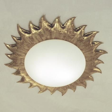 Plafoniera dorata SOLE con vetro opale satinato