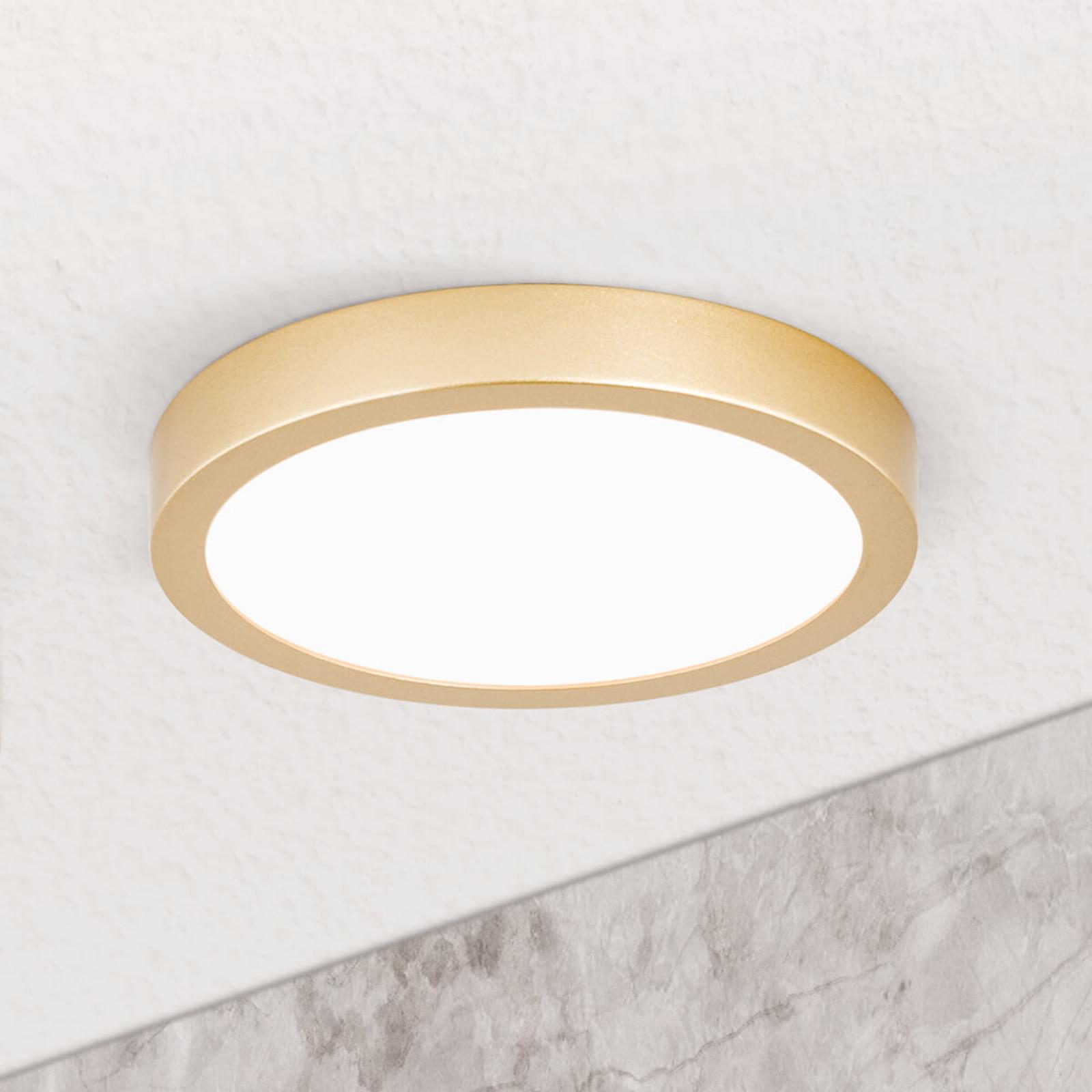 LED-taklampe Vika, rund, gull matt, Ø 18cm