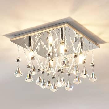 Křišťálová stropní LED lampa Saori, chromovaná