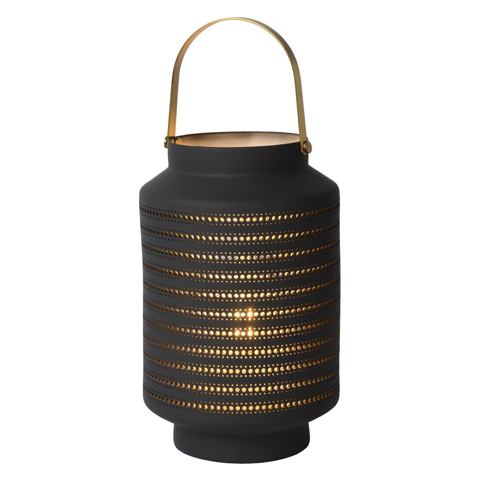 Tafellamp Jamila van porselein, antraciet