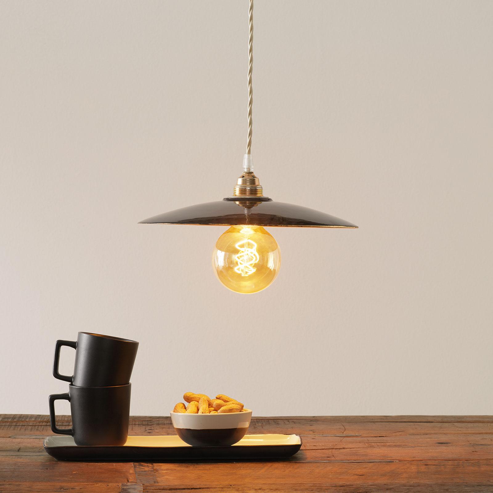 Keramiek-hanglamp S1890, zwart/goud