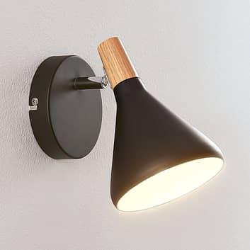 Aplique LED Arina en color negro y con madera