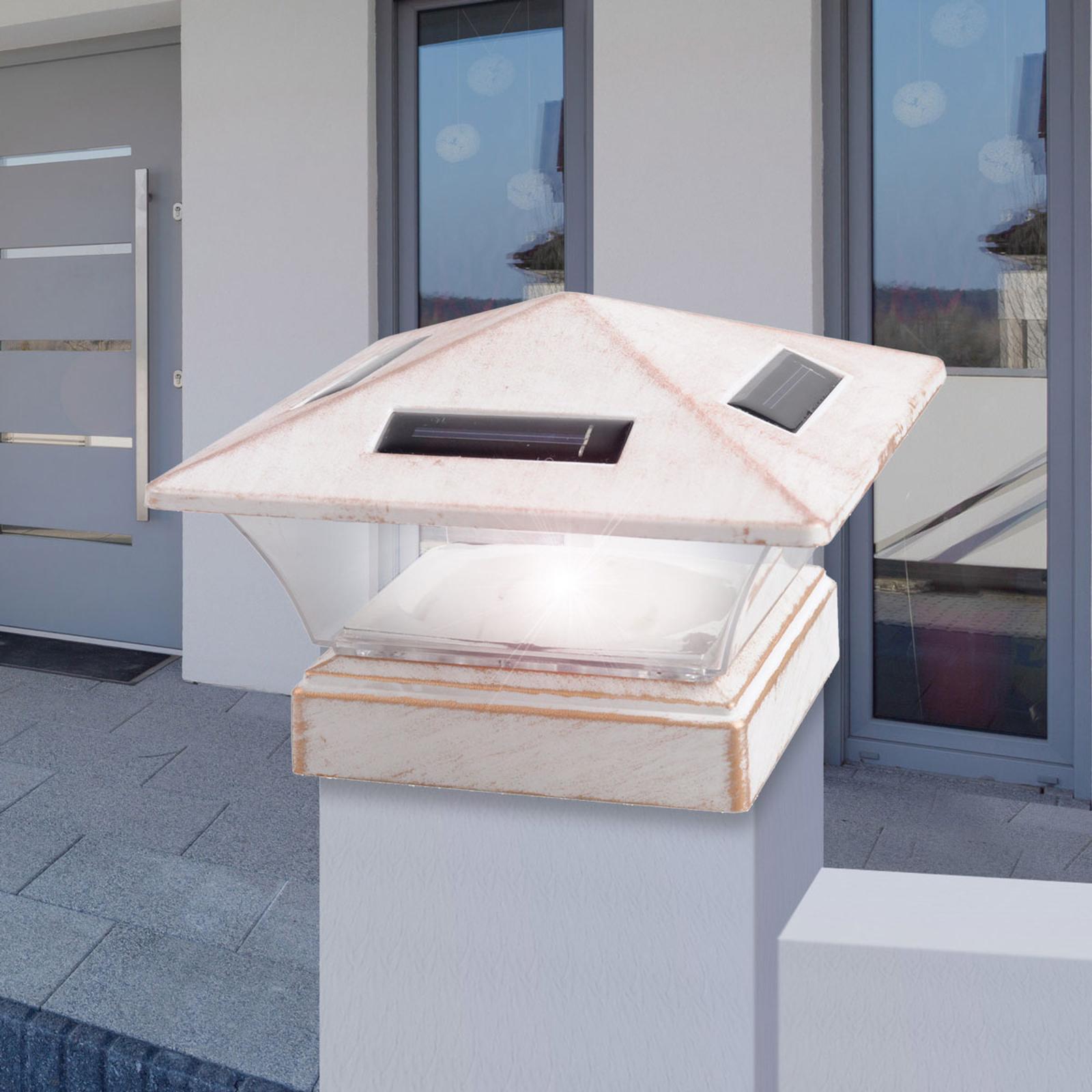 Lampa solarna LED 33038, 15 x 15 cm, antyk biała