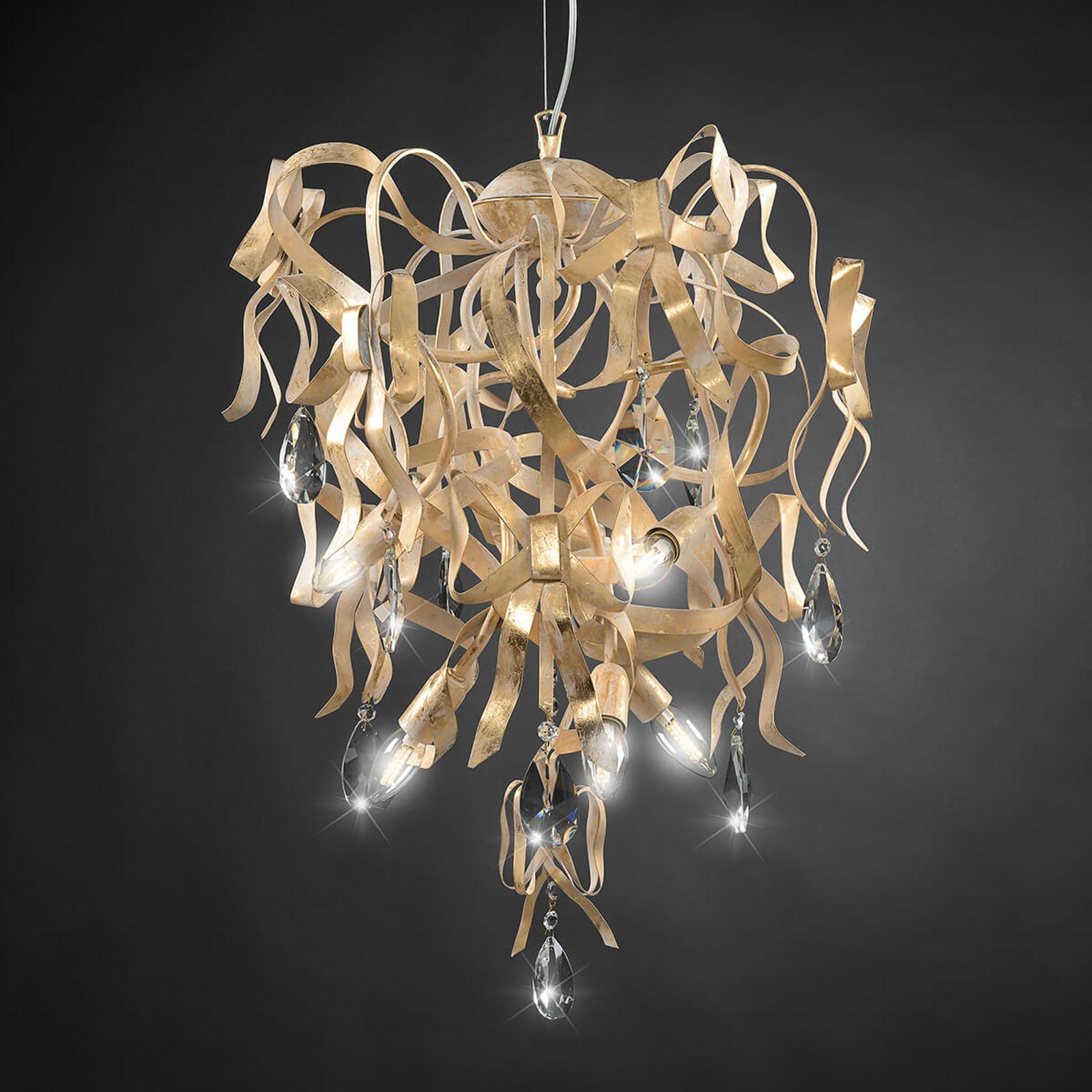 Designerska lampa wisząca Greta ze złotą patyną