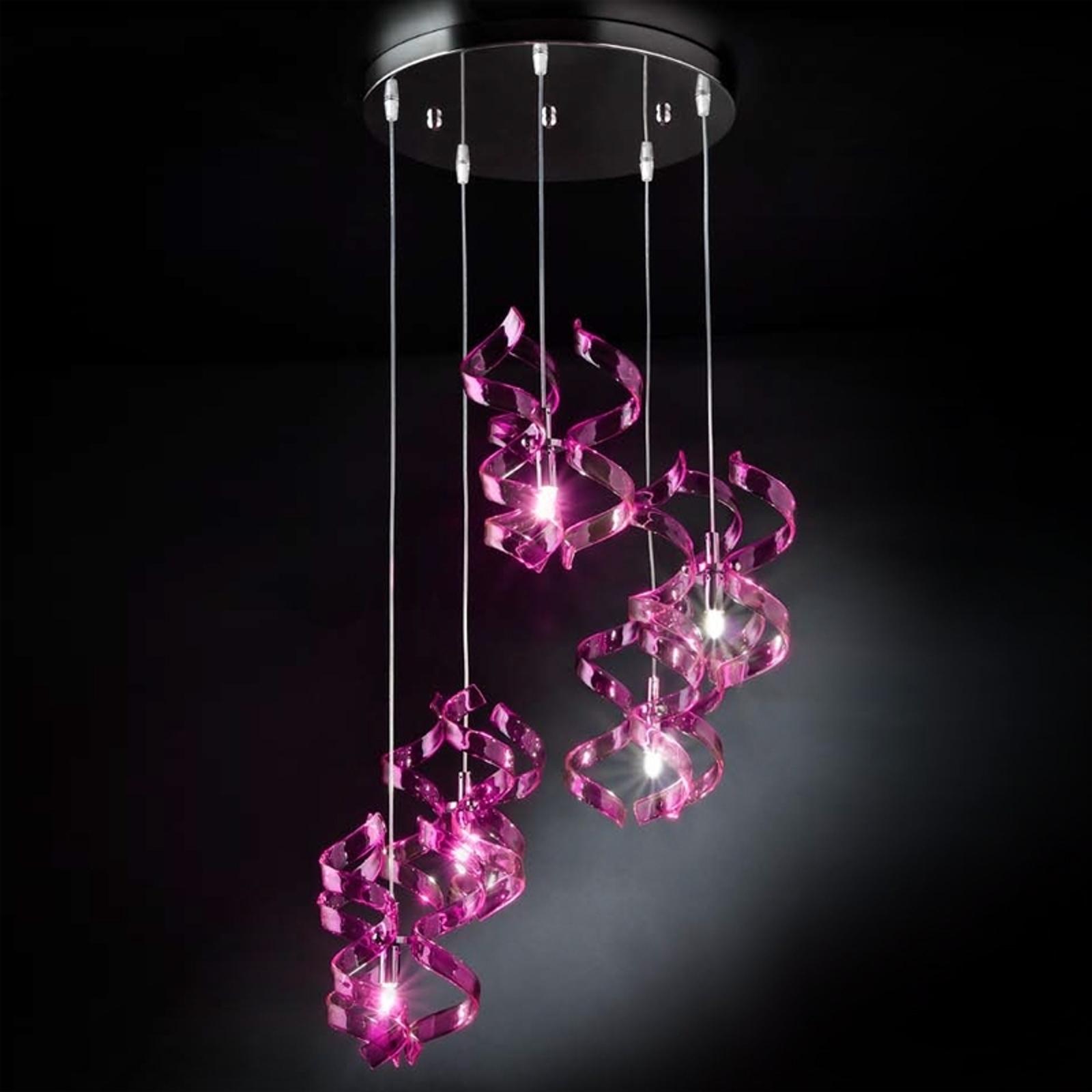Lámpara colgante Magenta, 3 luces
