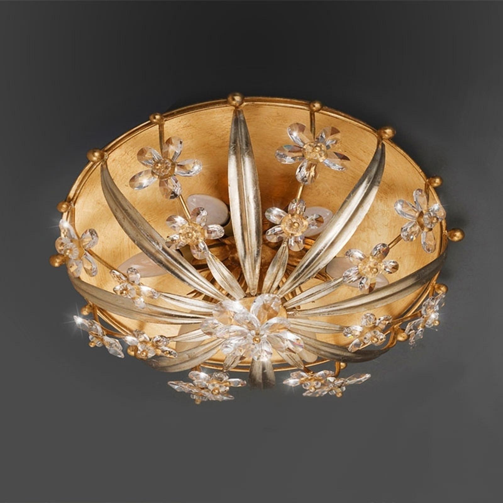 Weelderige kristallen plafondlamp Mirella
