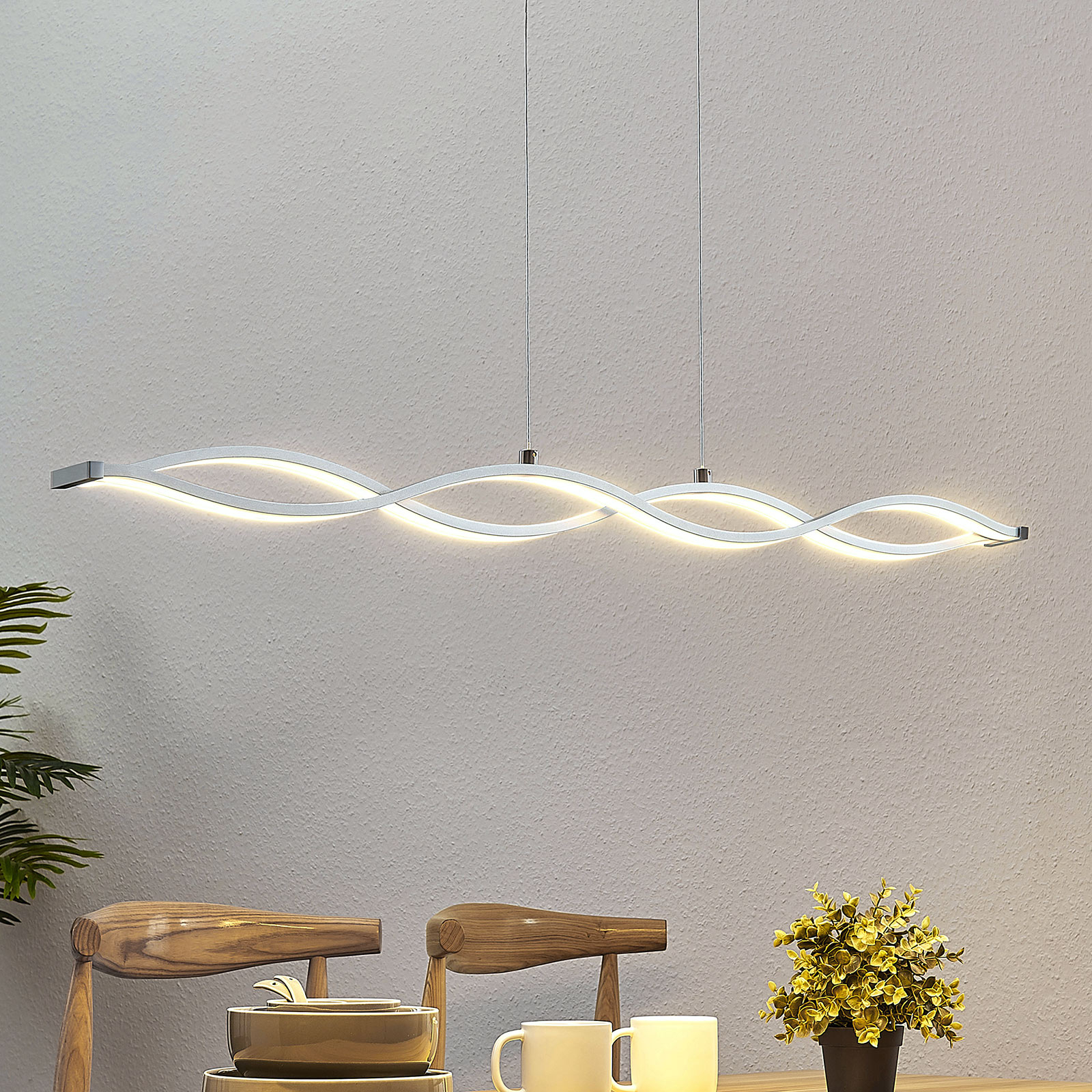 LED balkhanglamp Roan, golfvormig