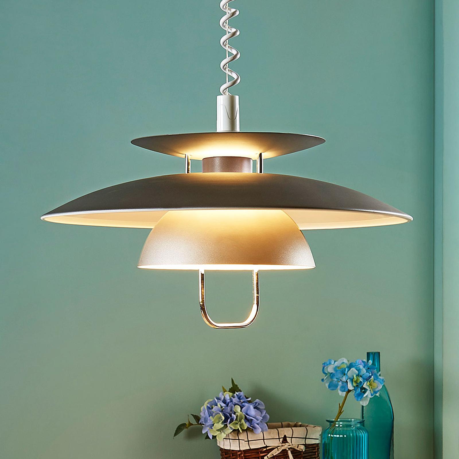 Elegant LED-pendellampe Nadija spiseplass, grå