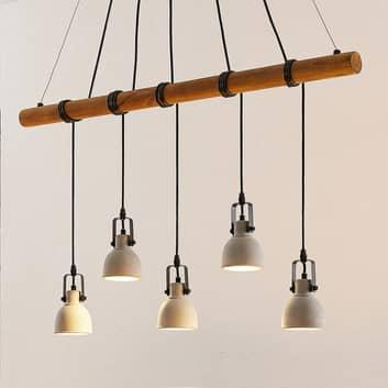 Lindby Mirka lámpara colgante LED, hormigón madera