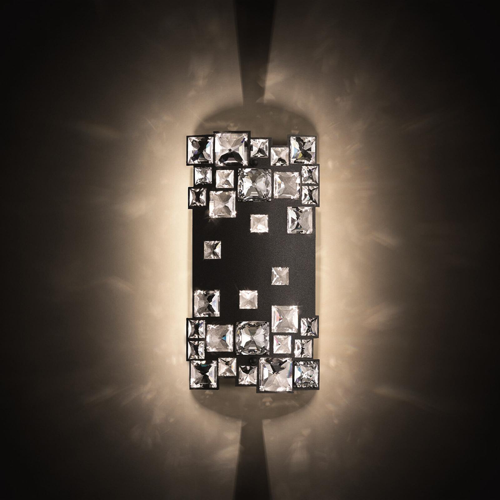 Mosaix - vegglampe i svart med krystaller