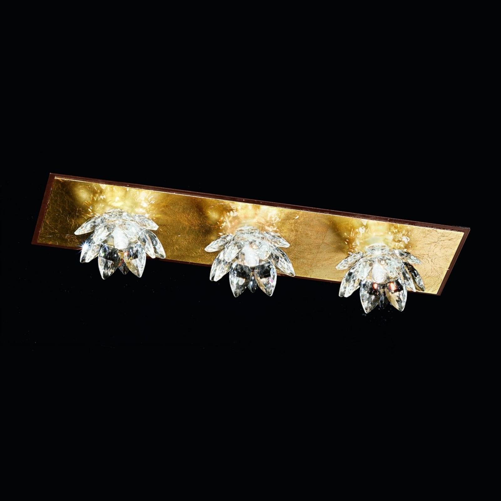 Plafonnier Fiore feuille d'or et cristal, 3 lampes