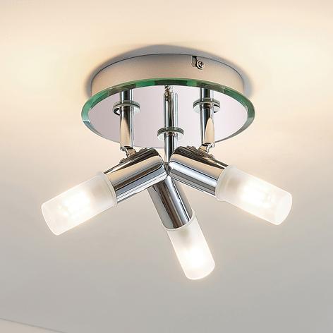 Lámpara de techo para baño Zela, 3 brazos de cromo