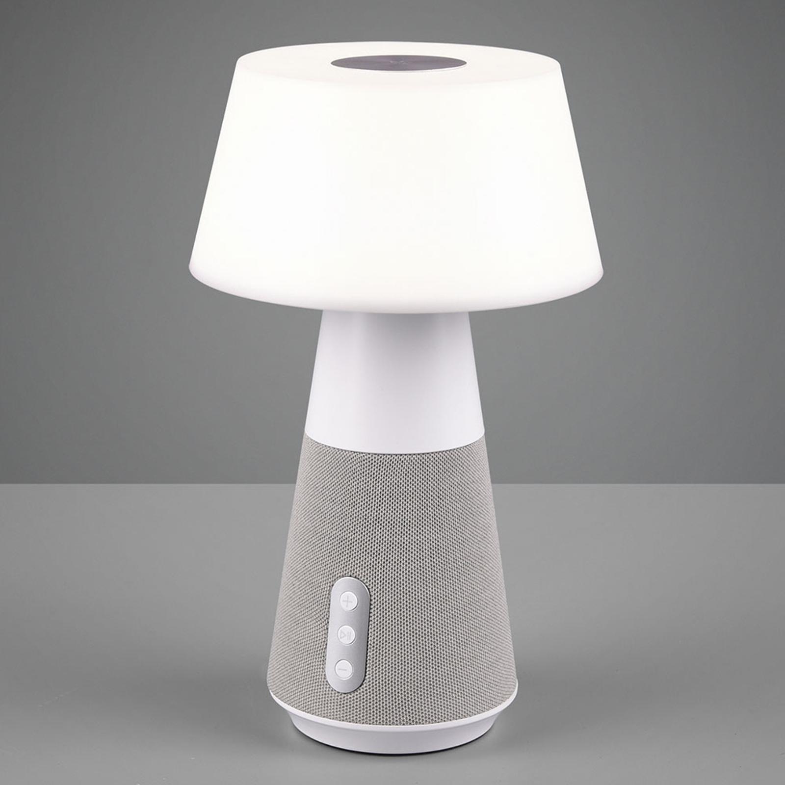 Lampe à poser LED DJ avec enceinte, blanche/grise