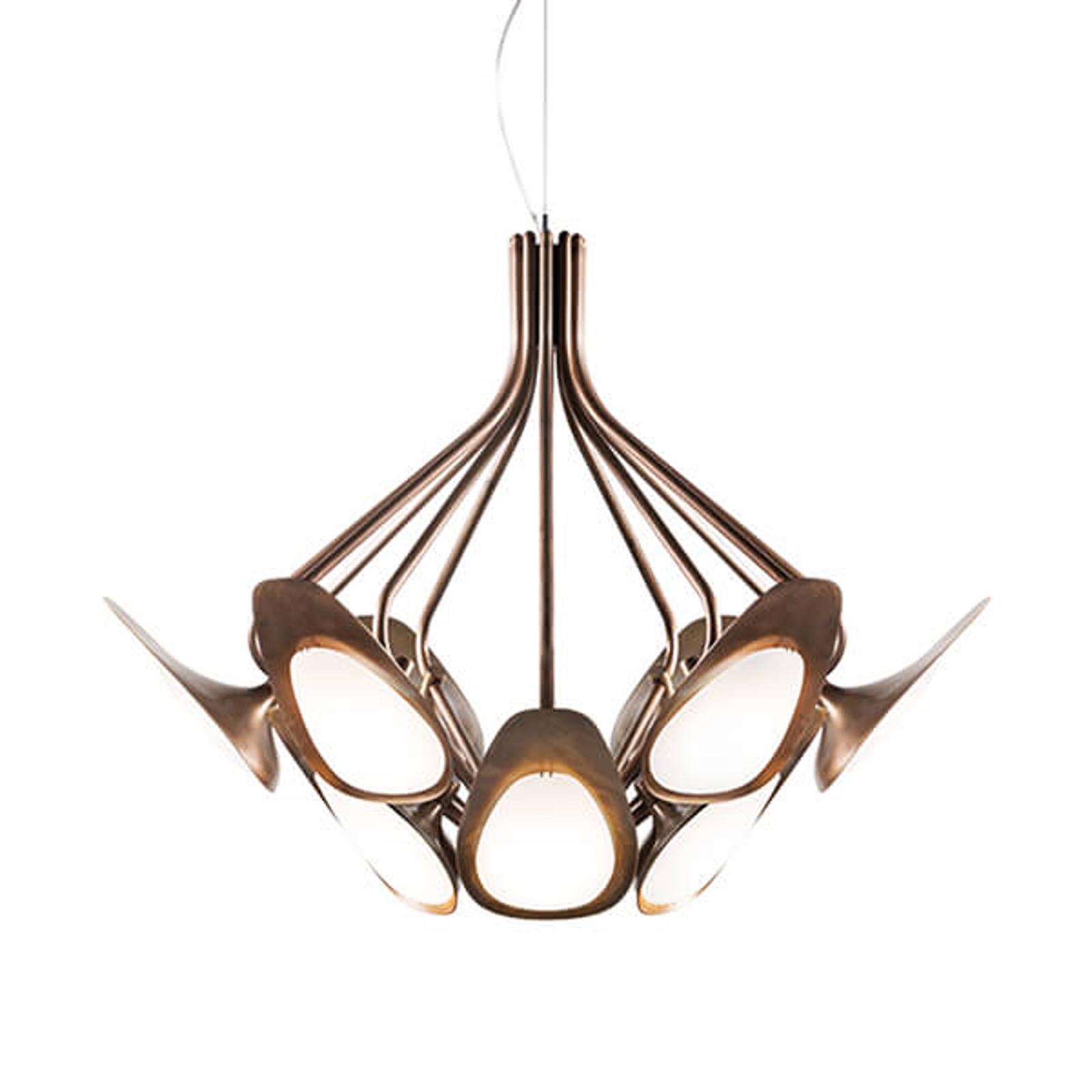 Brązowa lampa wisząca LED PEACOCK