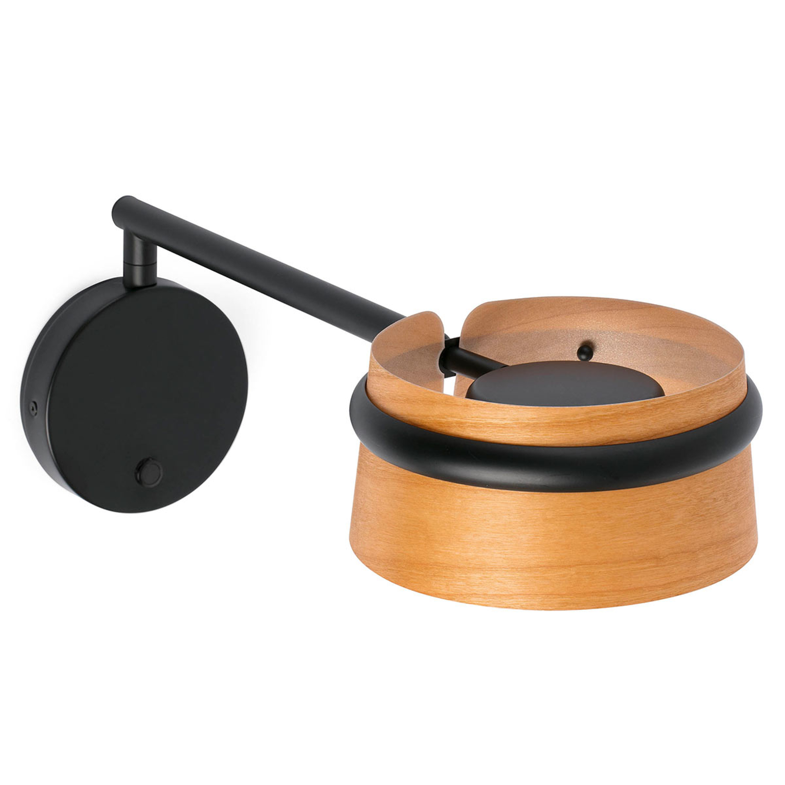 Draaibare LED houten wandlamp Loop met touchdimmer