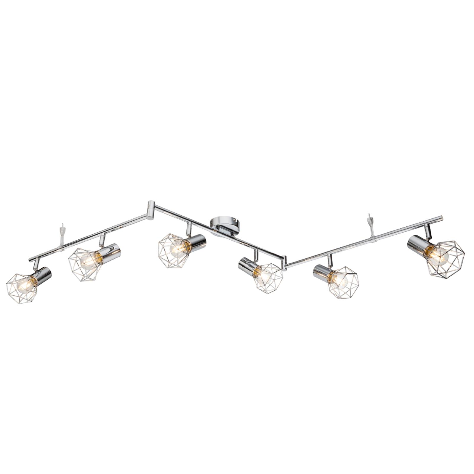 Plafondlamp Daiva met zes lichtbronnen