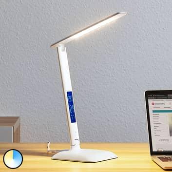 Lindby Ludmilla LED-bordlampe, display, hvid