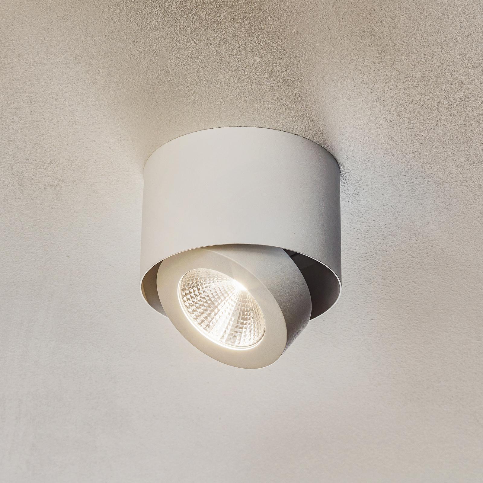 Svängbar LED-påbyggnadsspot Meno i vitt, dimbar
