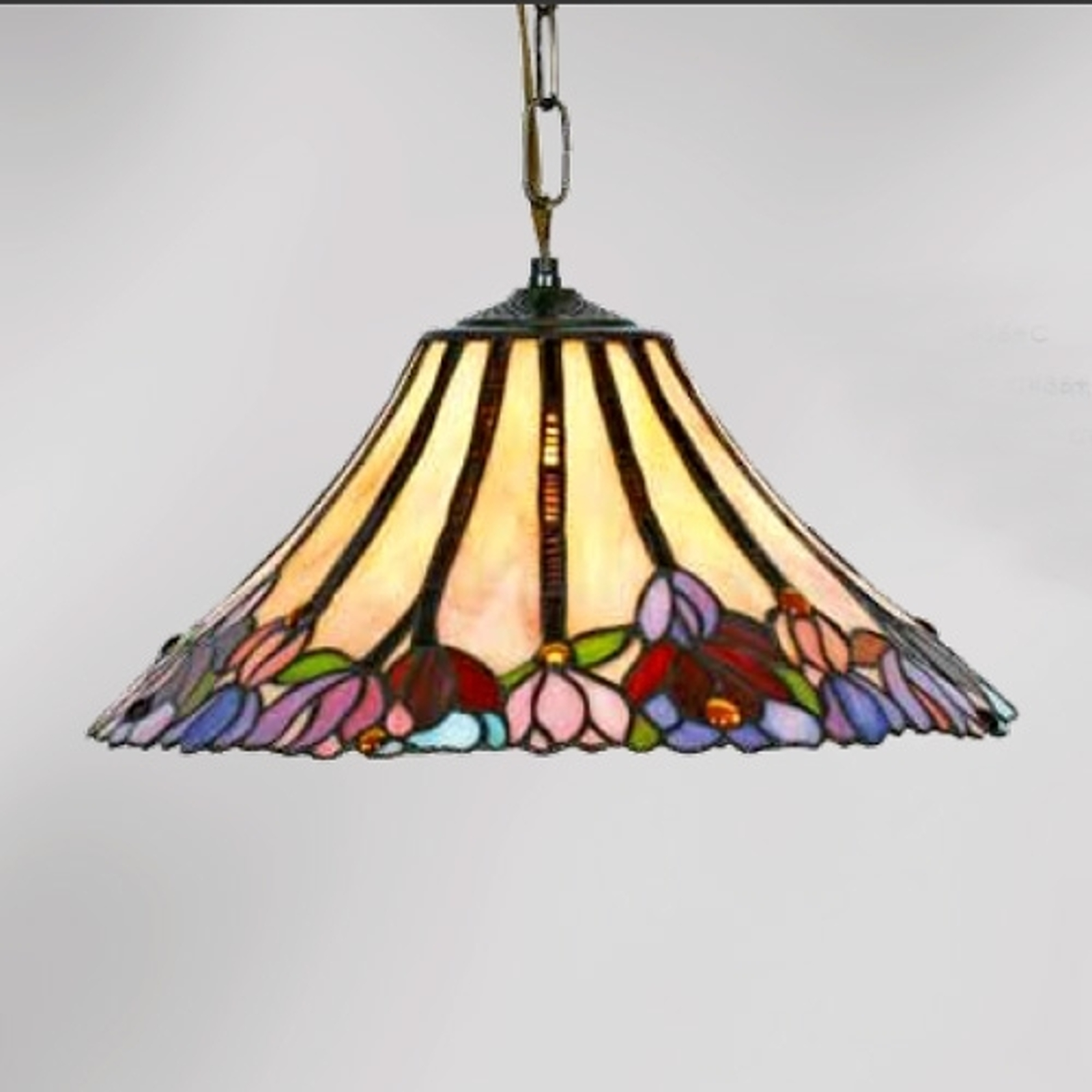 TORI - flot pendellampe i Tiffany stil, 1 lyskilde