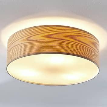 Loftlampe Dominic i træ i rund form