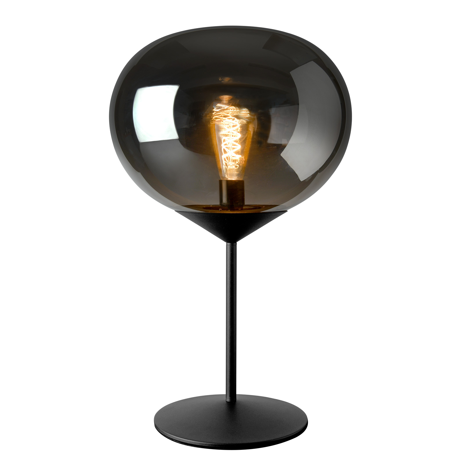 Drop Table Lamp With Smoked Glass Lampshade Lights Co Uk