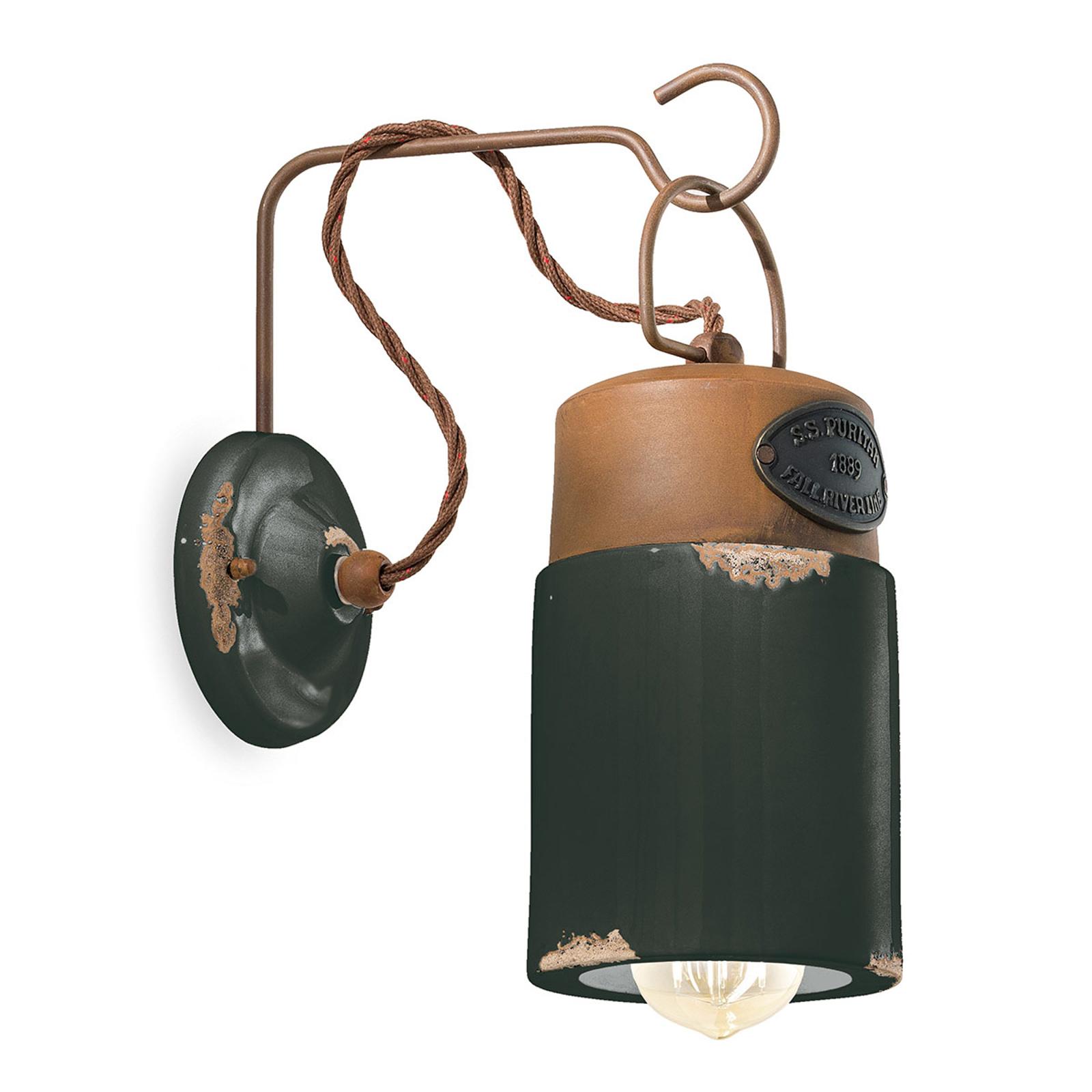 Wandlamp C1621, keramiek en metaal, zwart