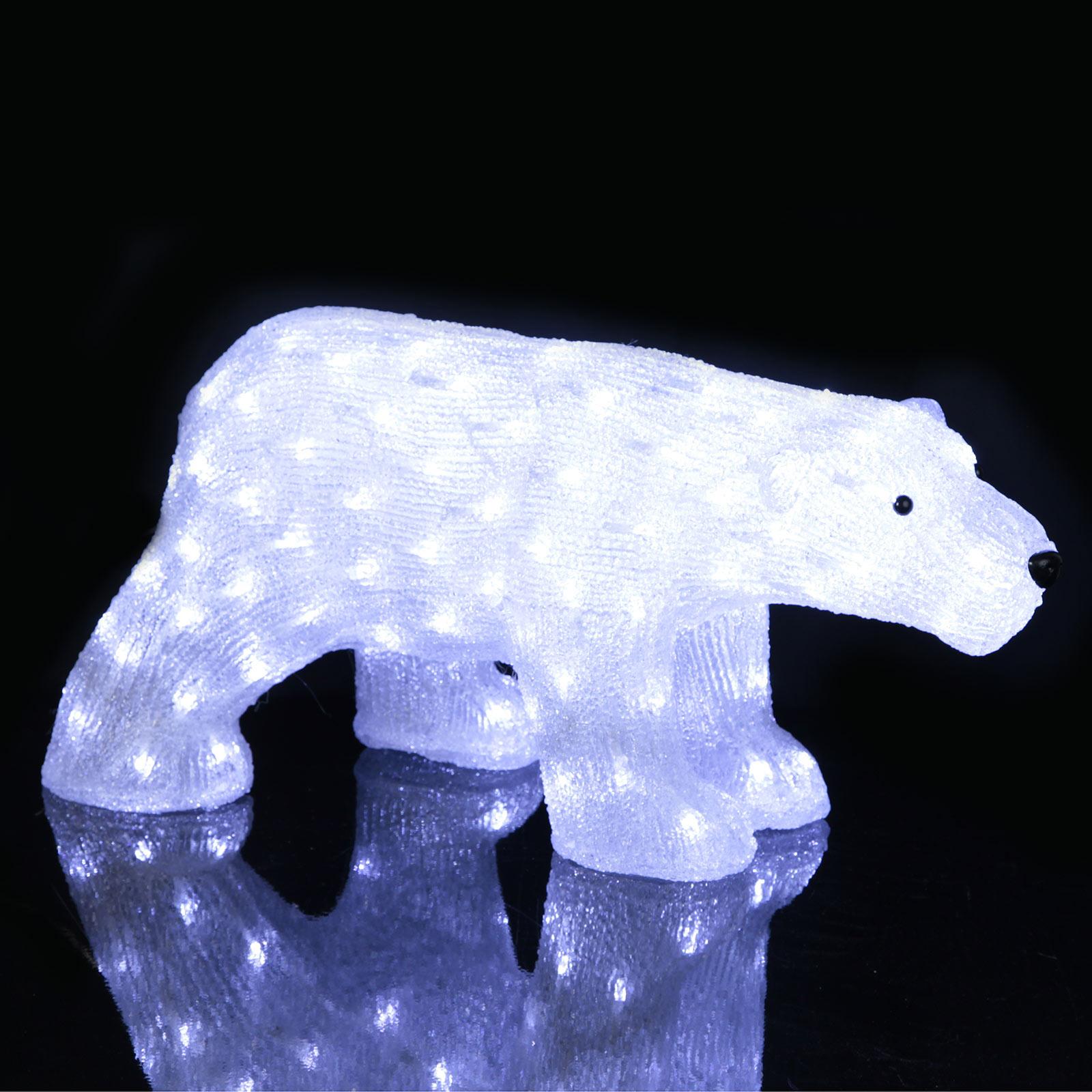 LED-figur Crystalo Isbjørn utendørs lengde 65 cm