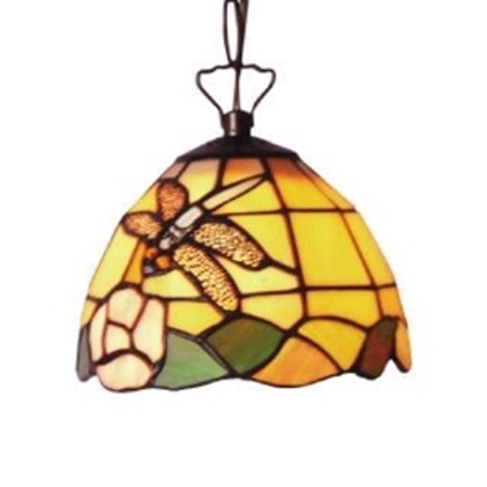 Fleurige hanglamp LIBELLE in Tiffany-stijl