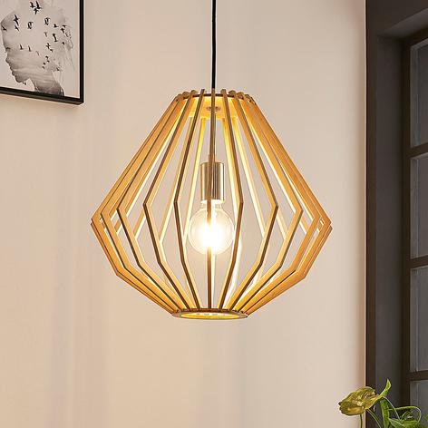 Lámpara colgante Sigge, pantalla láminas de madera