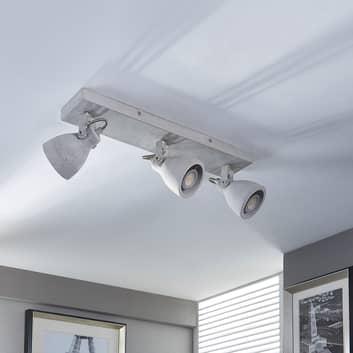3-lamppuinen LED-kattovalaisin Kadiga, betonia