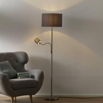 Lampa podłogowa Hotel z lampką do czytania, szara