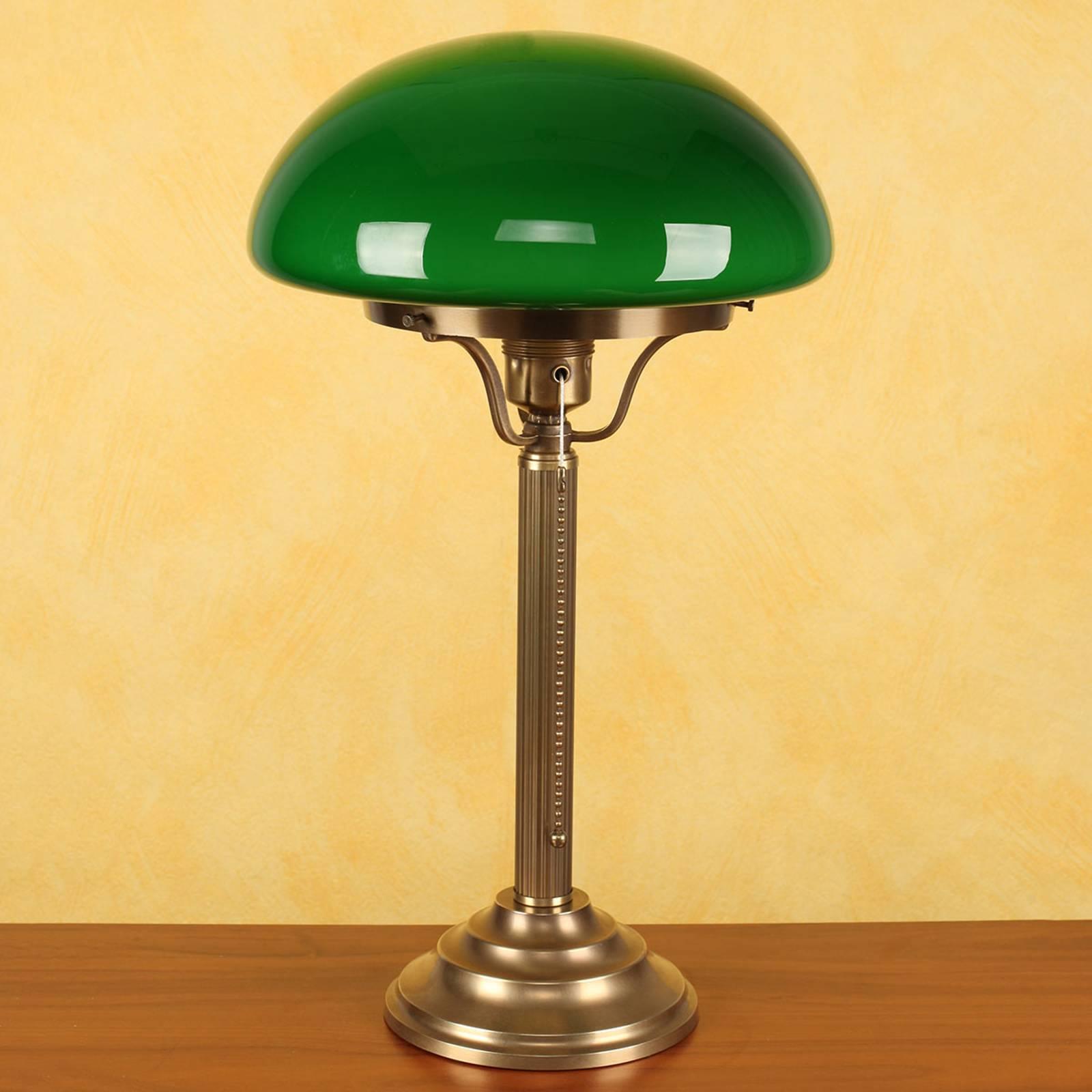Messing tafellamp Hari met groene kap