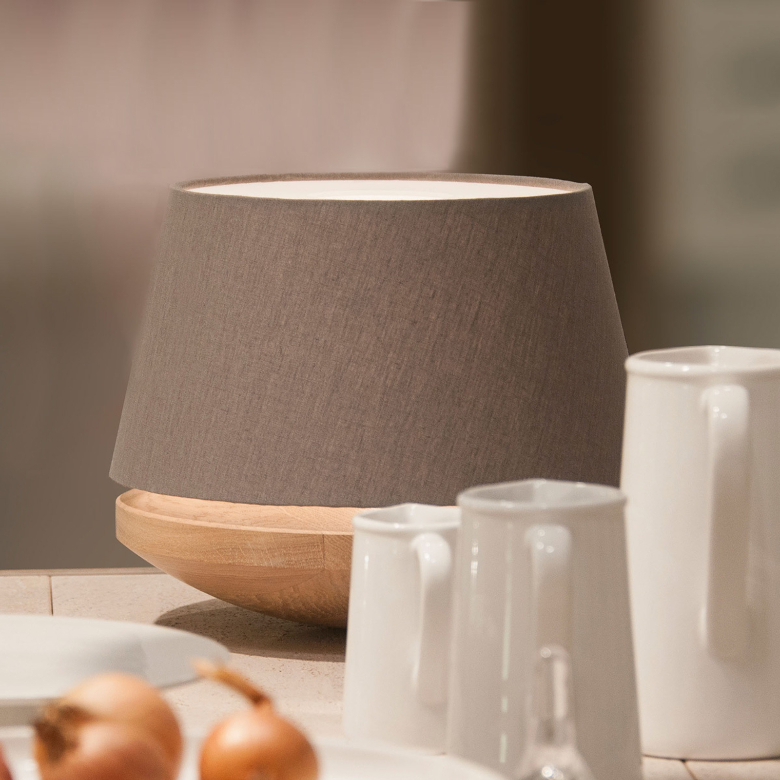 Oak wood and linen - table light Kjell, iron_2600497_1