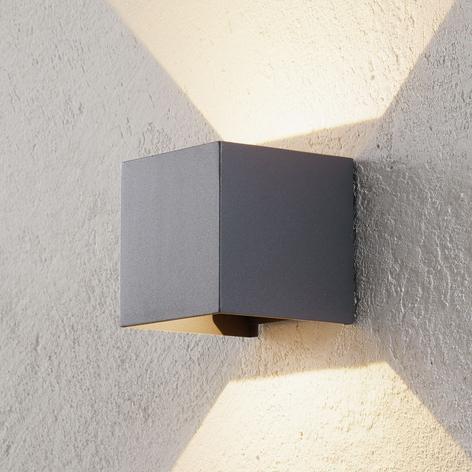 Utendørs LED-vegglampe Cube antrasitt