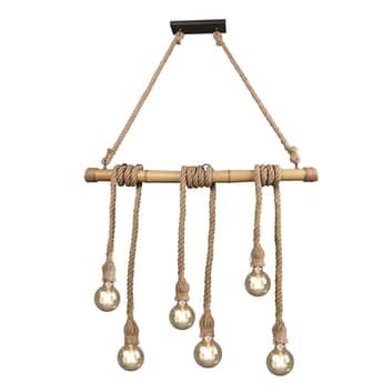 Lámpara colgante Wilma de bambú, 6 luces