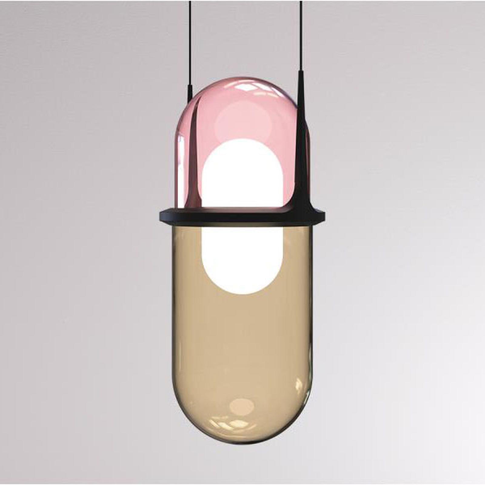 LOUM Pille LED závěsné světlo růžová/šampaňská