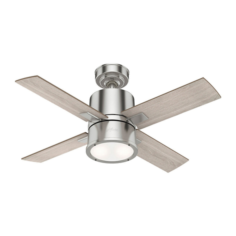 Hunter Beck Ventilator mit Licht, eiche/nickel