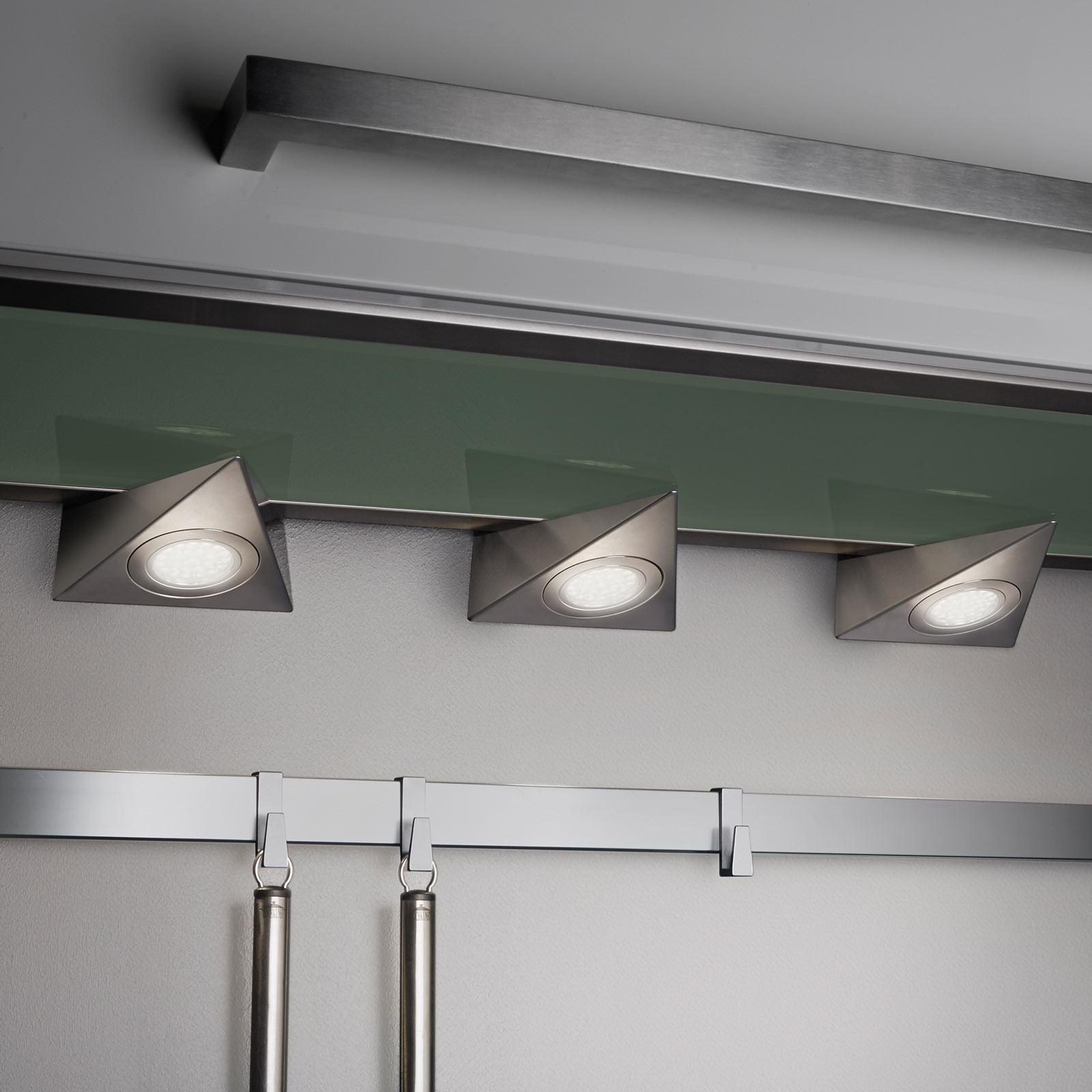 LED-Unterschrankleuchte Ecco 3er-Set, nickel matt