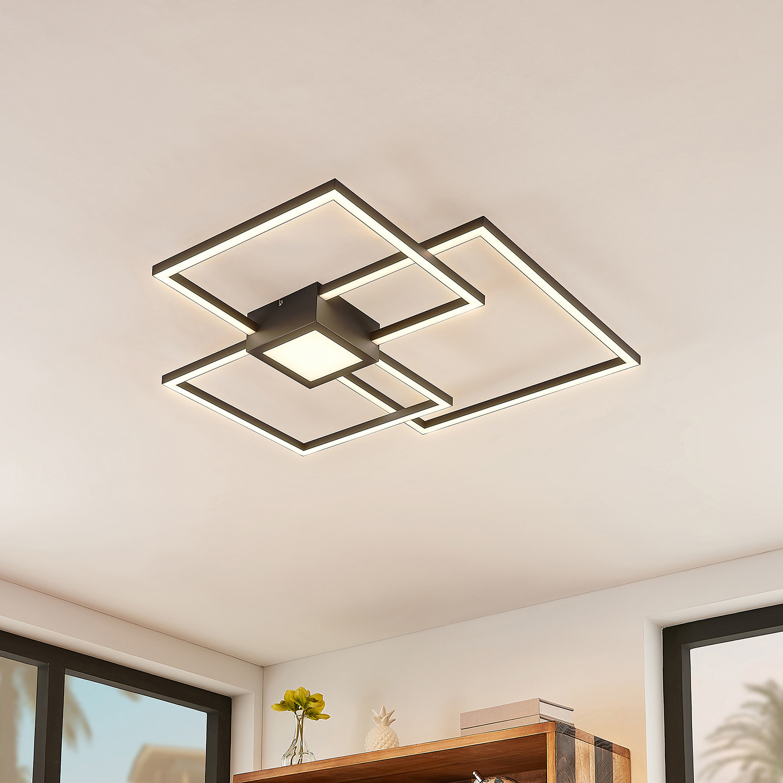 Lindby Duetto plafoniera LED antracite 38W