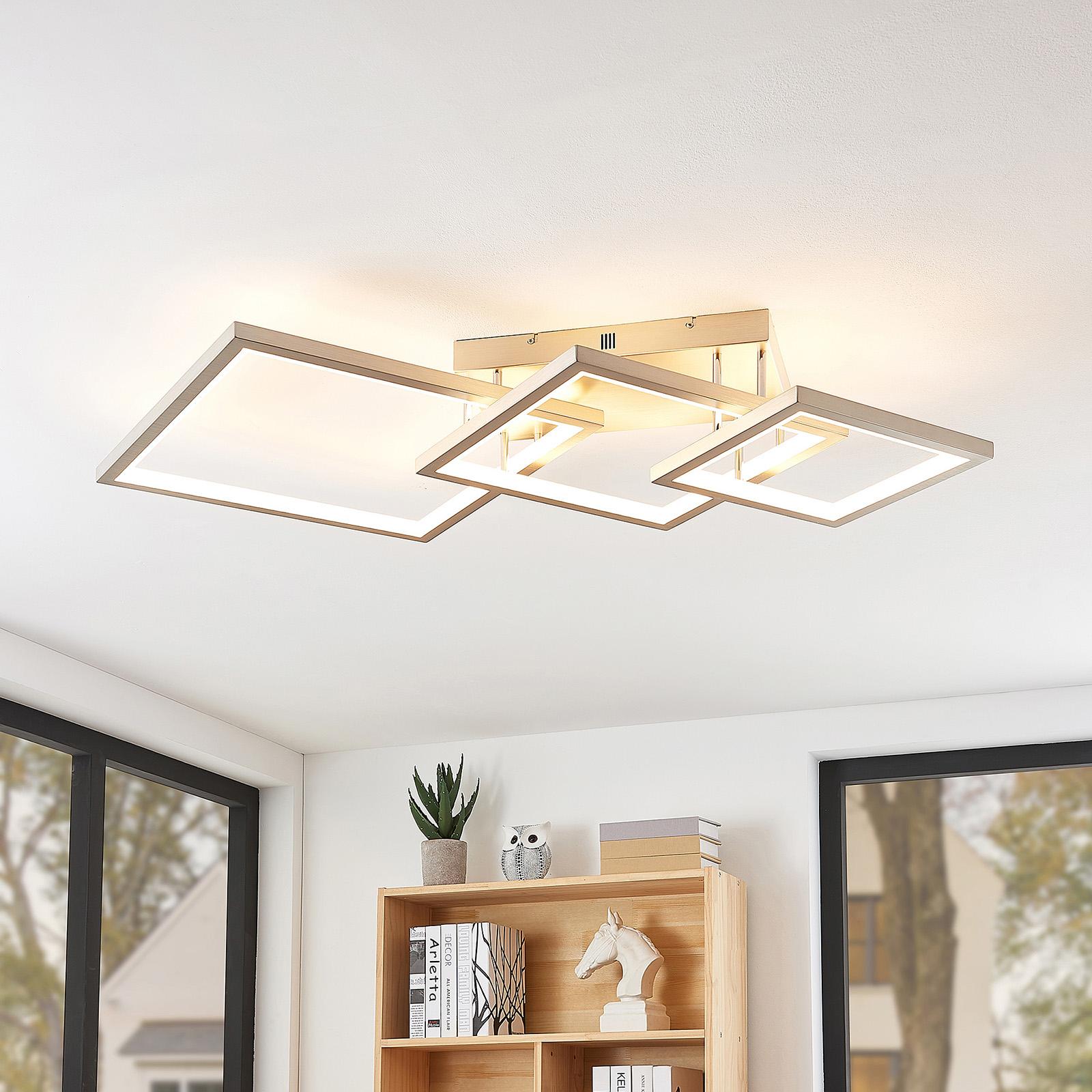Lucande Avilara LED plafondlamp van 3 vierkanten