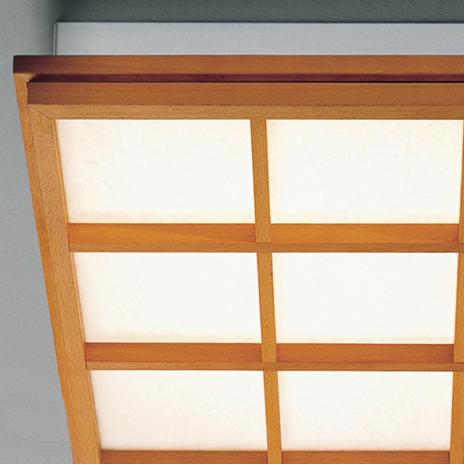 Buchenholz-Deckenleuchte Kioto 9 mit LED