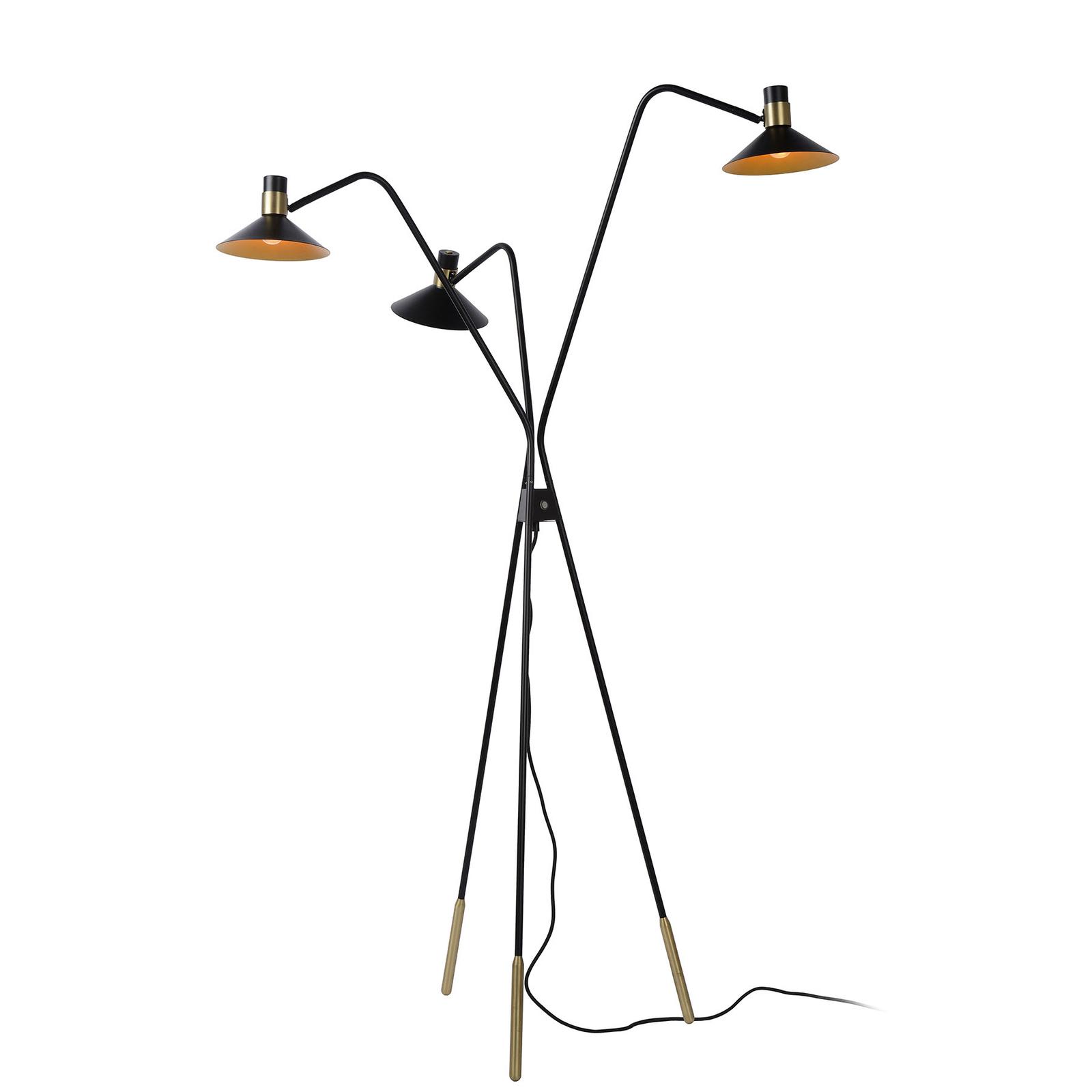 Lampadaire Pepijn en noir et doré, à 3 lampes