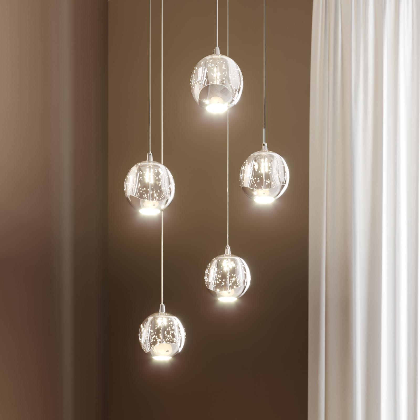 LED-riippuvalo Hayley 5-lampp. pyöreä kromi