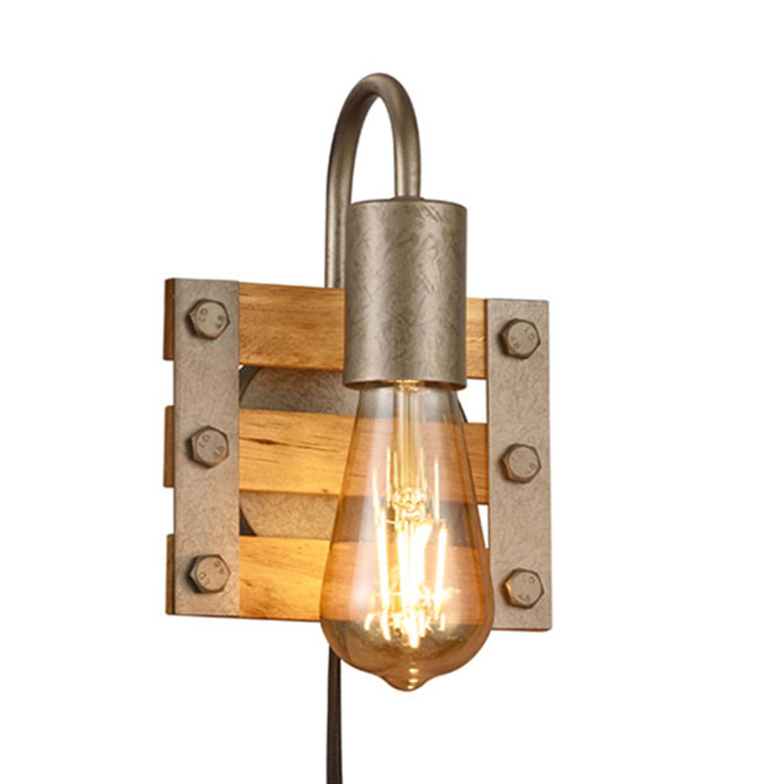 Vägglampa Khan, vintage, kabel + kontakt, 1 lampa