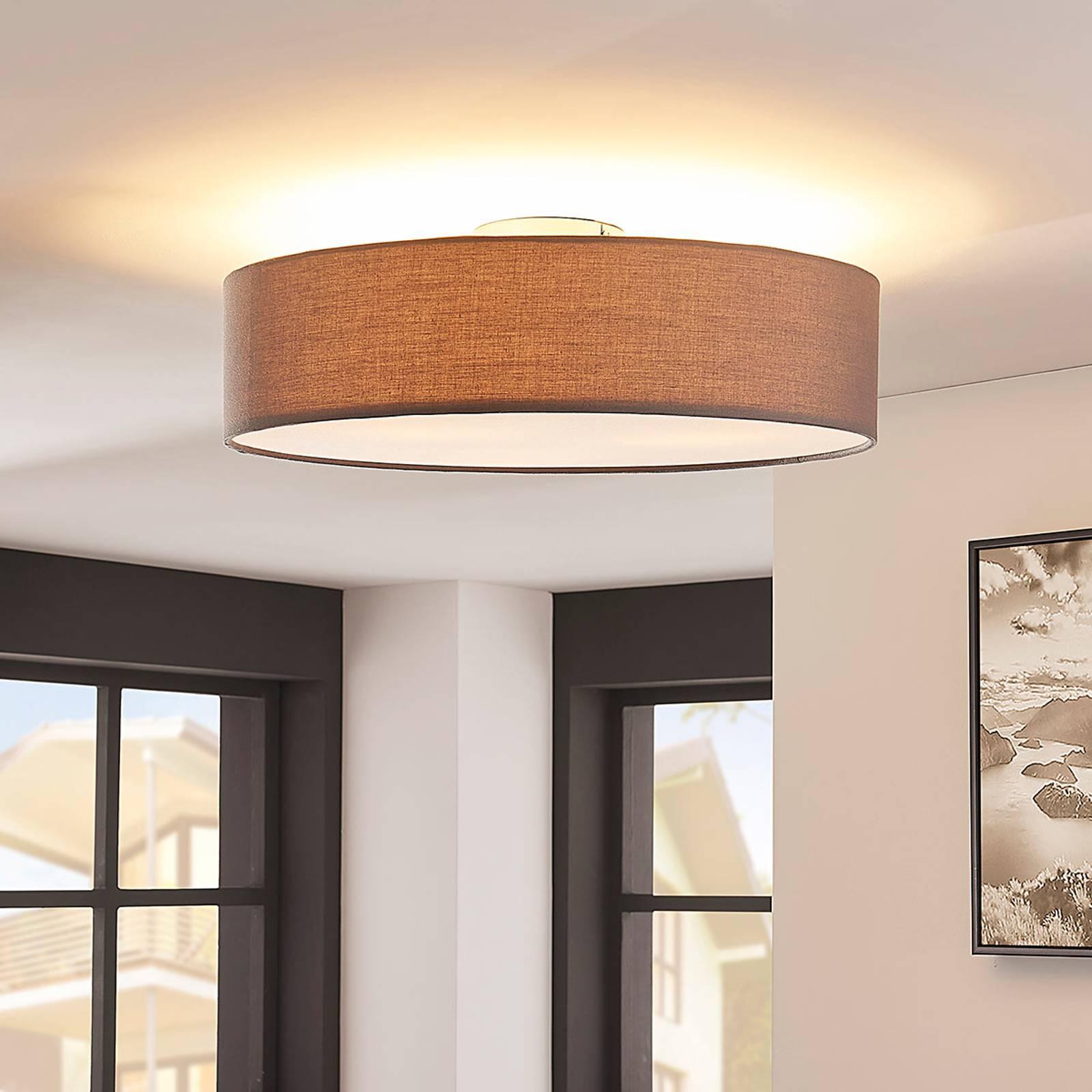 Szara lampa sufitowa LED SEBATIN z materiału
