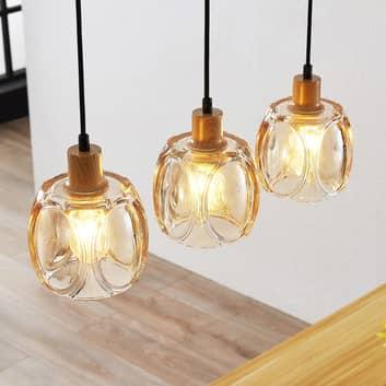 Lindby Jeromal -riippuvalaisin, lasi, 3-lamppuinen